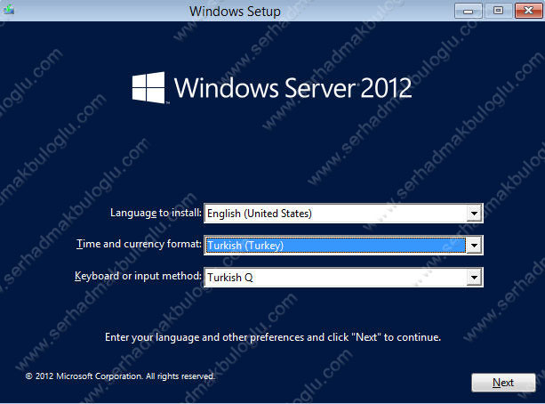 Windows Server 2012 Server Core Kurulumu