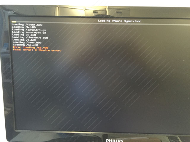 ESXi fails to boot
