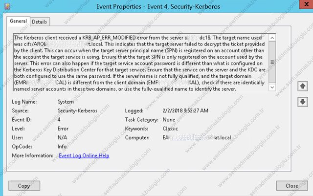 SECURITY KERBEROS ERROR - KRB_AP_ERR_MODIFIED - EVENT ID 4 | Serhad